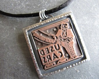 """Letterpress """"Used Cars"""" Necklace in Sterling Silver"""