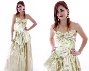 80s Gold Party Dress Metallic Formal Vintage Gold Lame' Bustier Tiered Gathered Ruffle Prom Cocktail Sweetheart Bodice Boning 5/6 S Small