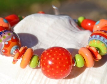 CLOWNING AROUND-Handmade Lampwork and Sterling Silver Bracelet