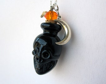 One of a Kind Essential Oil Skull Bottle Charm Necklace - Unique One of a Kind Aromatherapy Layering Jewelry - Healing - Halloween Necklace