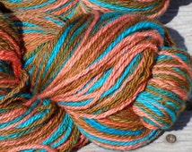 Self Patterning Wool Yarn. Worsted Weight. Southwestern Colors Turquoise Blue, Coral Pink and Golden Brown. Big Skein! 7 oz 350 yards. 3 Ply