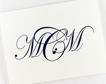 Monogram Note Cards Custom Stationery Personalized All Occassion Blank Notes by Lime Green Rhinestones