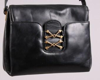 vintage Equestrian 1950s black leather calfskin purse hand bag gold hardware