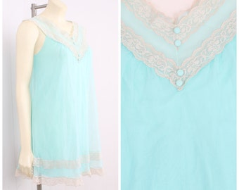vintage 1960s sheer turquoise satin + chiffon cream lace baby doll lingerie sexy nightgown vtg 60s