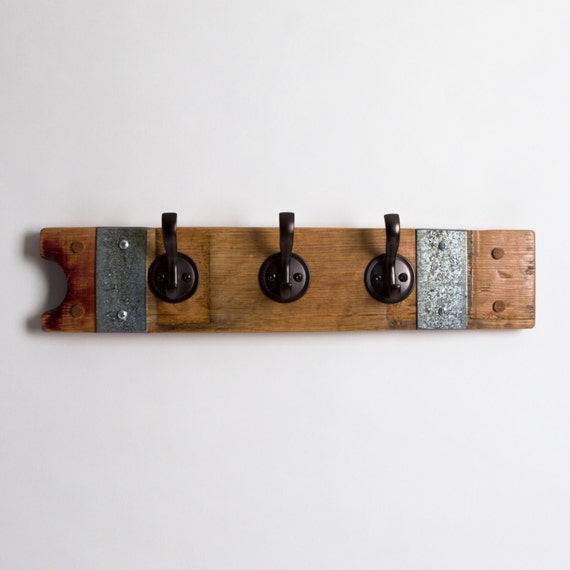 Small Banded Wine Barrel Stave Coat Rack with Round Oil Rubbed Bronze Hooks