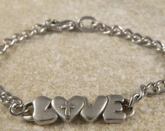 Love Cross Metal Charm Bracelet
