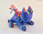 Blue Cat with Butterflies and Hearts