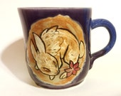 Purple Bunny and Red Flower Mug