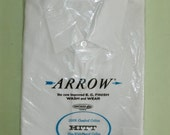 M 16 - 34 60s Vintage Arrow Hitt Sanforized Plus White Cotton Long Sleeve Shirt Made in the U.S.A. White