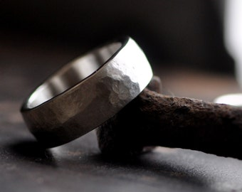 man's ring extra wide sterling silver, organic hammer and brushed satin finish, available in 8.5 mm and 10.5 mm
