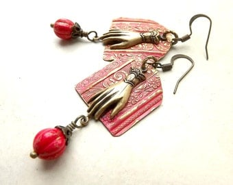 Hand painted brass earrings with hands and red Czech glass beads, found object jewelry, repurposed picture frame metal