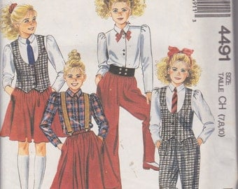 McCall's 4491 Girls' Vest, Blouse, Skirt and Pants Sizes 7, 8, 10 Vintage UNCUT Pattern