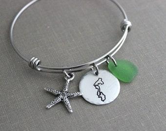 Whidbey Island Bracelet - stainless steel adjustable beach bangle bracelet - silver pewter starfish charm, genuine sea glass beach jewelry