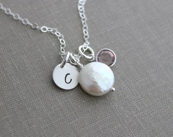 White Freshwater coin pearl necklace with Sterling Silver initial Charm and Swarovski crystal birthstone, June birthstone, Gift for her