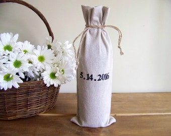 personalized wine gift bag - wedding gift - engagement - anniversary - linen - embroidered - wedding date - monogram