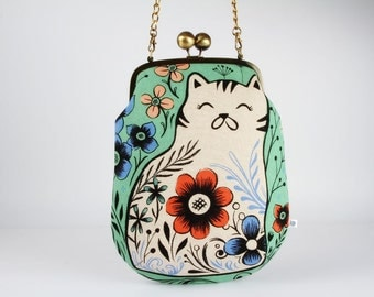 Frame purse with shoulder strap - Pennie in mint - Pennie handbag / Modern japanese fabric / Cotton and Steel / Wattsalot / Folk cat flowers