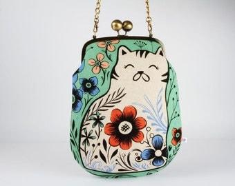 Frame purse with shoulder strap - Pennie in mint - Pennie handbag / Modern japanese fabric / Cotton and Steel / Wattsalot / Folk cat flowers