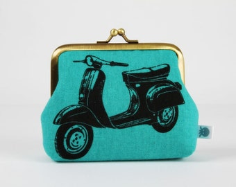 Metal frame change purse - Scooters in teal - Deep dad / Echino / geek boho modern / Green black bright purple / Retro style graphic