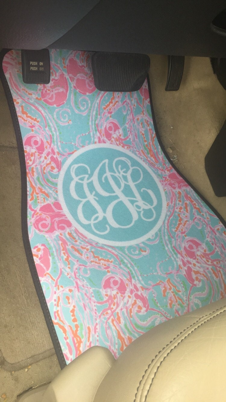 lilly pulitzer inspired monogrammed car mat set by tinytulip