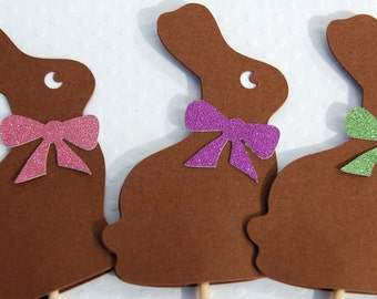 chocolate color bunny cupcake toppers set of 12 glitter bow easter cupcake topper