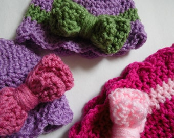 Baby Girl Hats, Bow Beanie, Pink Baby Hat, Double Thick Bow