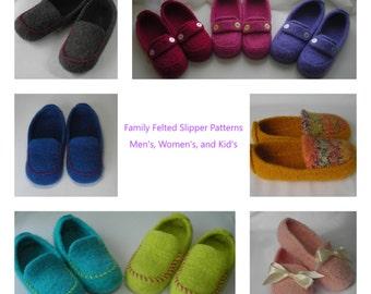 Felted Slipper Patterns Men's Women's Kid's - Knitting Pattern PDF - family Christmas DIY gift - bulky worsted yarn