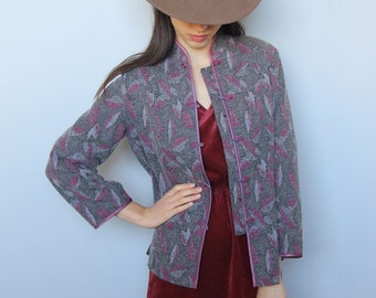 folklorica -- leaf pattern mandarin collar jacket with piping S