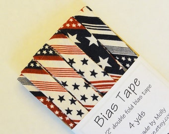 "Bias Tape - 4 yds - 1/2"" Double Fold - Red White and Blue Stars and Stripes Americana"