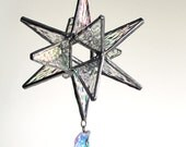 Swarovski Crescent Moon Moravian Star -  Stained Glass Star - Ornament - Christmas - Choose your colors