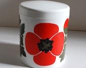 Vintage Lonborg Plastic Canister Container Retro Kitchen Denmark Danish Spice Jar Pantry Organization Mod Poppy Flower