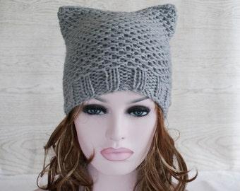 Grey or Fuschia Pink Cat Hat Womens Chunky Knit Beanie