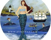 Sailors Valentine Center, ART for Designers Crafters ~ Mermaids on the Beach ~ JL. Munro