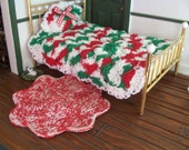 Miniature Dollhouse Crochet Bedspread with Pillow Country Christmas