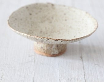Hand built  White Speckled  shallow Bowl with foot
