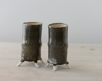 Hand built porcelain pair of smokey  vases or tumblers with DNA patterns