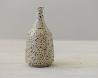 Small Wheel Thrown white speckled vase