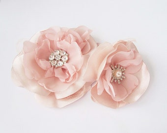 hair pin fascinator flower blush pink pale bridal or custom color