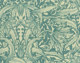 Cream/Aqua Circles Leaves (DT94240CW9) - BTY - David Textiles
