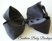 SALE---School Cheer Bow XX-Large 7 Inch Hair Bow Clip---Black---Ready to Ship