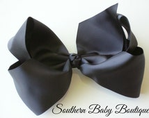 SUMMER SALE---School Cheer Pony O Bow XX-Large 7 Inch Hair Bow---Black---Ready to Ship