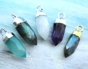 SHOP SALE...Petite Spike Charm, Aqua Chalcedony, Rainbow Moonstone, Labradorite,Amethyst, Gold and Silver Plate, 15x3mm