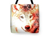 Wolf Tote Bag, Red And Yellow Art, Native American Totem Animal, Southwestern Carry-All Bag, Reusable Shopping Bag, Wolves Uni-Sex Bag