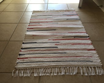 Red, White, Blue Hand Woven Rag Rug 25 x 44