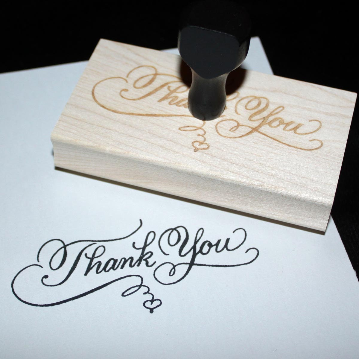 Thank You Rubber Stamp Custom Calligraphy Personalized