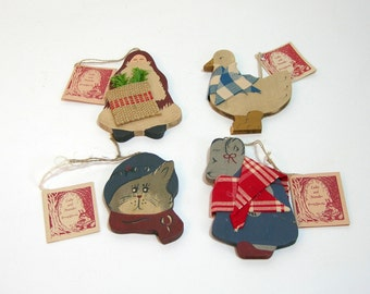 Vintage Wood Ornaments, Ladie And Friends, Mouse, Duck, Christmas Cat And Santa, Handpainted