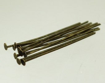 300 Antique Bronze Headpin - one Inch 22 Gauge 22G - Flat Round Head Headpin Head pins TPin - ship from California USA