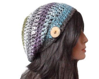 Crochet Slouchy Beanie Hat - Handmade Tam - Winter Accessories Wool Earthy Colors Greens purples grey white blues Ready to Ship