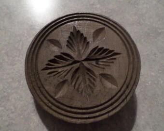 antique primitive wood BUTTER MOLD wooden round carved leaf vine folk art