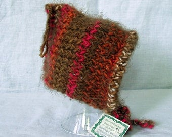 knit baby elf bonnet - mixed colors - retro - READY TO SHIP