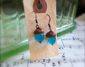Glass Acorn Earrings in Turquoise by Bullseyebeads
